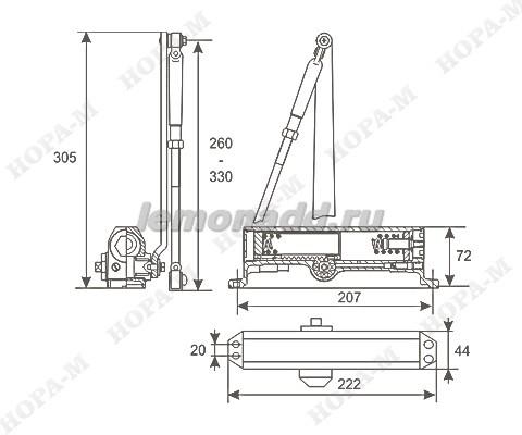 Схема и размеры доводчика