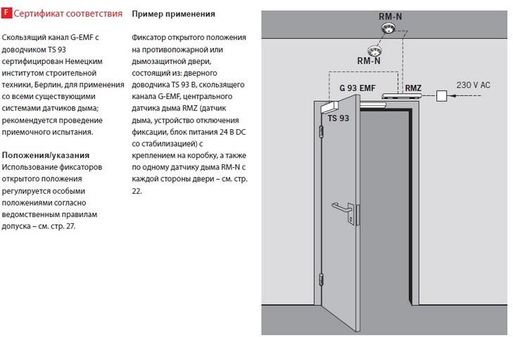 Пример фиксации противопожарной/дымозащитной двери в открытом положении